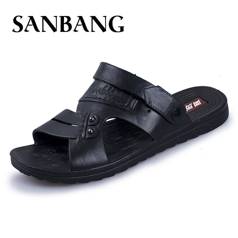 Luxury Brand 2018 Summer Men Outdoor Beach Sandals leather Casual Slippers Male Flat Flip Flops Shoes For Men zapatos hombre gx5