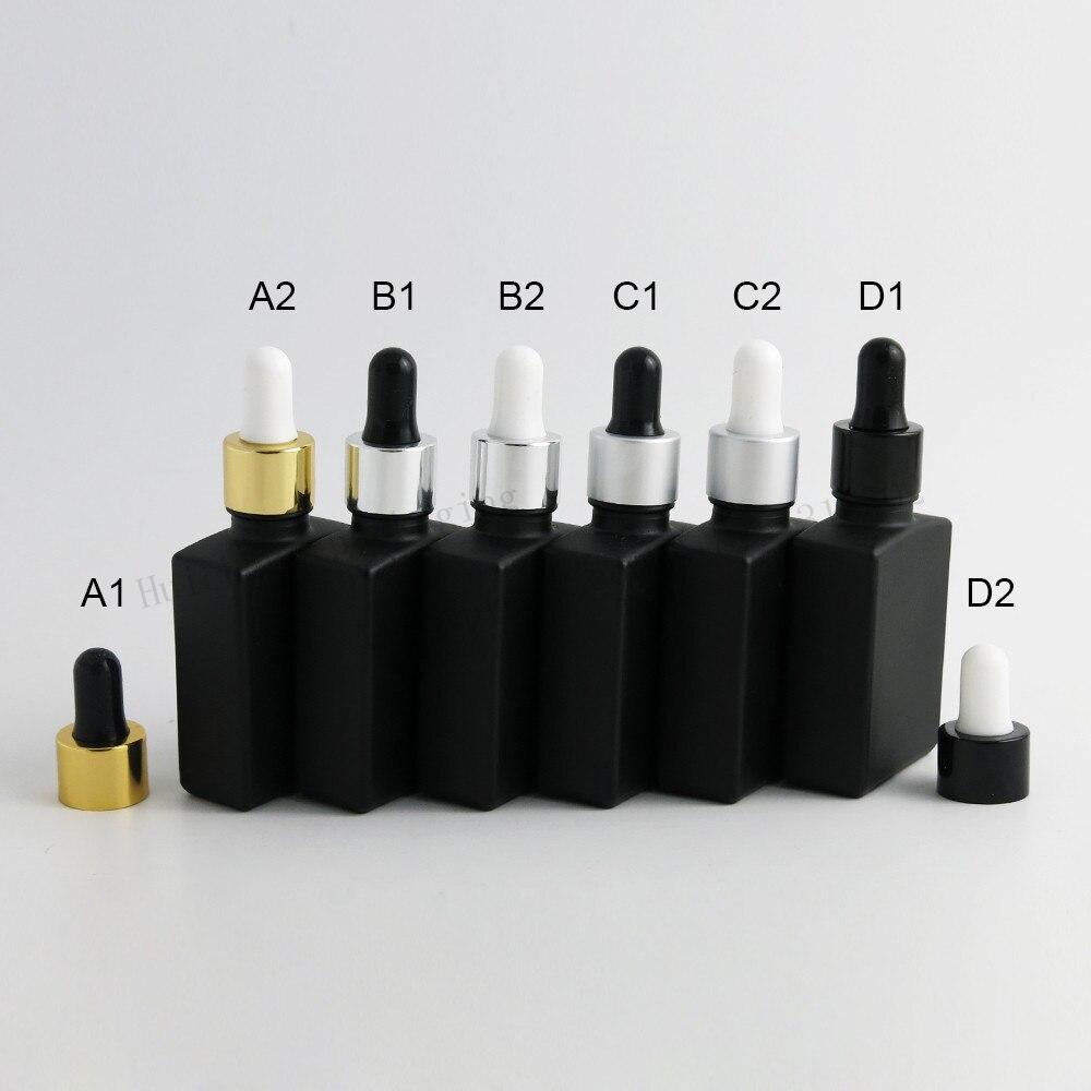 200 x 30ml Empty Frost Black Square Flat Glass Bottles With Aluminum Dropper 1oz Glass Dropper