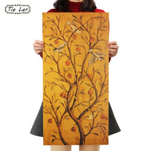 TIE LER Fortune Tree Kraft Paper Bar Poster Home Decor Wall Stickers Decorative Painting 70.5X35cm(China)