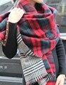 Za marca de invierno mujeres de cachemira bufanda a cuadros de gran tamaño doble cara a cuadros multifunción espesar mantón del cabo caliente envío gratis