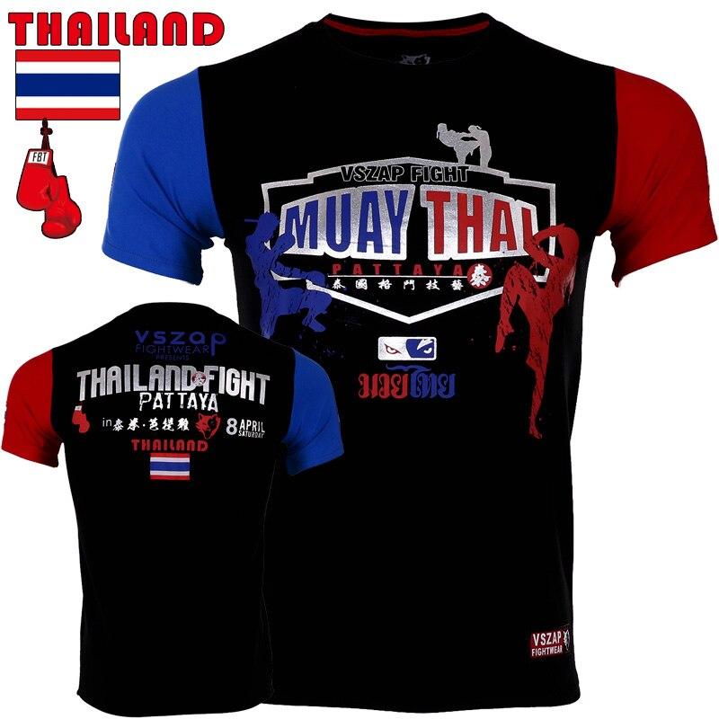 Vszap Men MUAY THAI Mma Jersey Boxing MMA Sleeve Fight Wear Tiger Muay Thai T Shirt Wolf