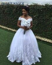New Elegant Lace Appliques Wedding Dress Off Shoulder Beads Sleeveless Appliques Vestido de novia Formal Bridal Gown