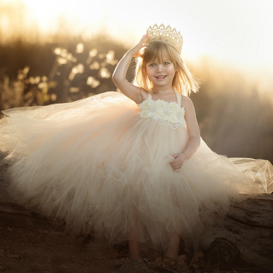 Handmade Shabby Flower Girl Tutu Dress Princess Kids Wedding Tulle Dress for Girls Birthday Party Pageant Ball Gowns Clothes (3)