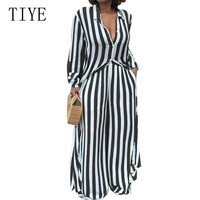 TIYE Sexy Turn down Long Sleeve Striped Two Pieces Sets Wide Leg Jumpsuits Women Casual Go Out Loose Black Playsuits Rompers