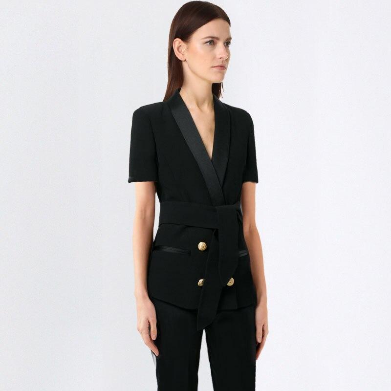 Business Women Pencil Pant Suits 2 Piece Sets Black Solid Blazer + Pencil Pant Office Lady Notched Jacket Female Outfits
