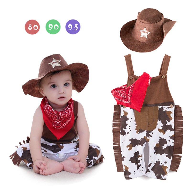 Baby Cow Boys Clothing Sets Cute INS Newborn Baby Rompers Hat Triangle Towel 3Pcs Sets Children New Years Climb Clothing CS58