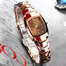 Relogio Feminino Tungsten Horloge Voor Vrouwen Rose Goud Kleur Waterdicht Quartz Luxe Dame Horloge pak voor Kleine Pols