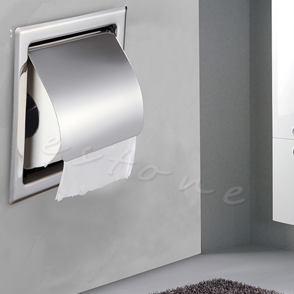 A96 1 PC New Stainless Steel Bathroom Toilet Paper Holder Roll Tissue Box Wall Mounted#XY# stainless steel toilet tissue roll box wall mounted bathroom paper holder sturdy practical and user friendly