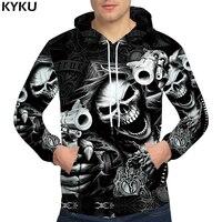 KYKU Skull Hoodies Hip Hop Hoodie Punk Mens Clothing RockGun 3d Hoodies Sweatshirts Male Men Streetwear