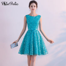 PotN'Patio Turquoise Blue Short Homecoming Dresses Summar Sleeveless Lace Junior Dresses