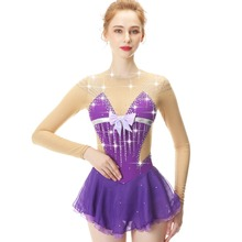 Purple Long Sleeve Crystal Diamond Bow Figure Skating Sress Skirt lady and girl
