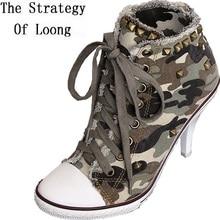 Корейский стиль; сезон весна-осень; женская обувь на высоком каблуке; на шнуровке; камуфляжные заклепки; Модная Джинсовая парусиновая обувь; размеры 34-41; SXQ0709