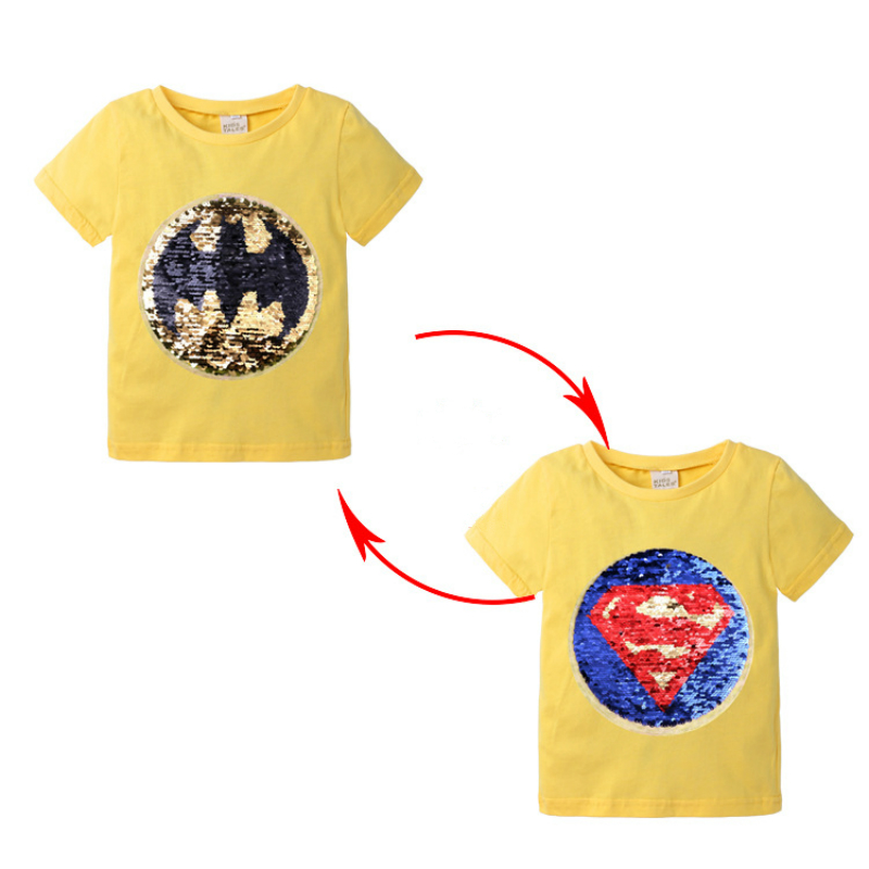 Summer Boys T-shirts Short Sleeve Changing Color Spiderman Superman Switchable Sequins T Shirt Kids Tops Clothes