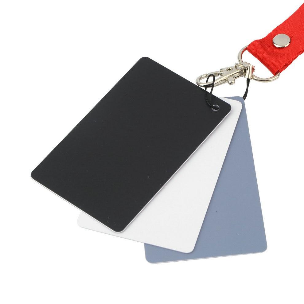 Balance-Cards Photography White Digital-Camera Pocket-Size Black Grey with Neck-Strap