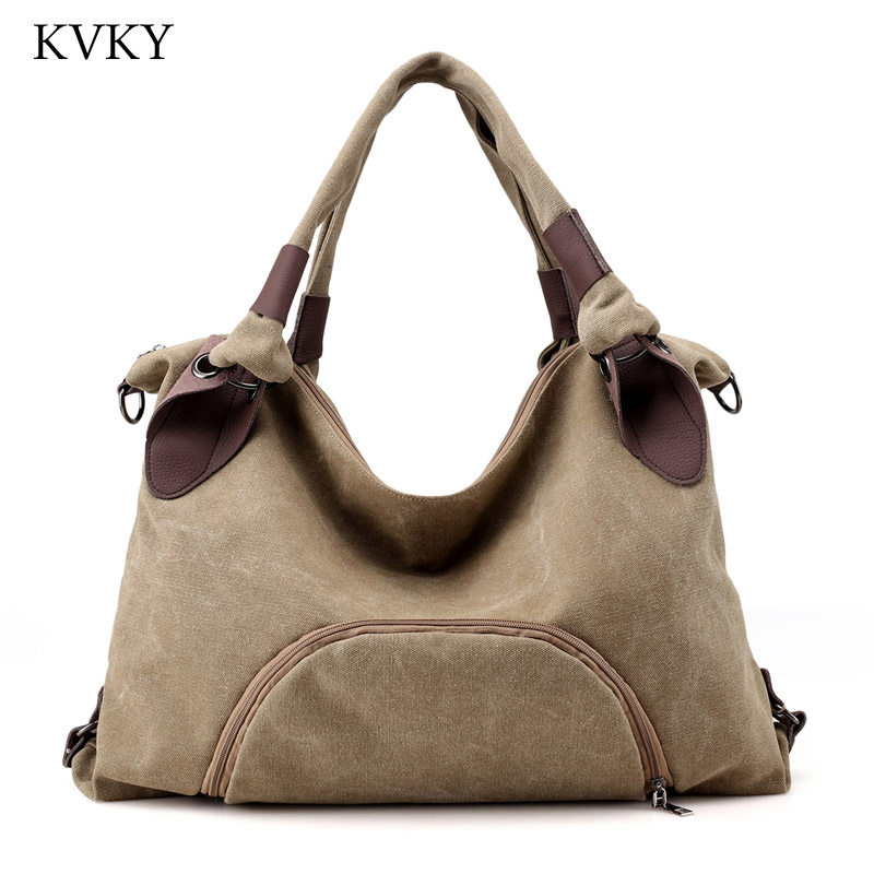 KVKY Brands 2018 Fashion Big Women Canvas Bag Ladies Shoulder Bags Handbags Women Large capacity Casual Tote Bags Sac A Main aosbos fashion portable insulated canvas lunch bag thermal food picnic lunch bags for women kids men cooler lunch box bag tote