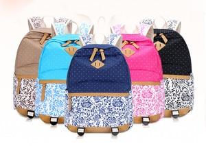 Image 5 - Fengdong sacos de escola para meninas adolescentes do vintage flor lona mochila criança escola crianças ombro caneta lápis saco bookbag
