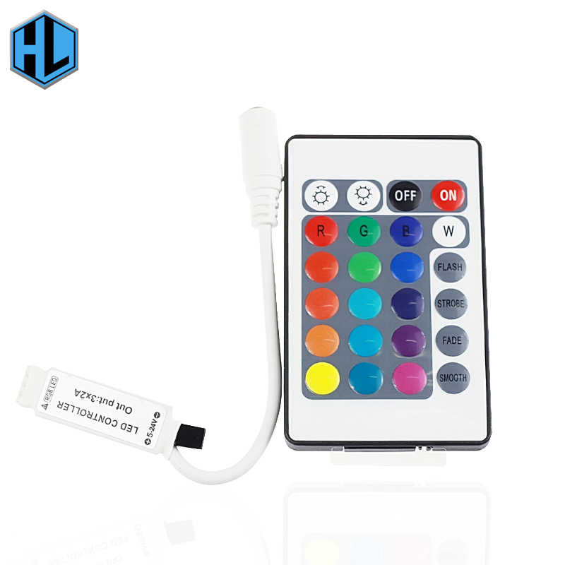 24keys LED Controller RGB IR Remote Controller DC12V  With Mini Receiver LED Driver Dimmer Fit for 5050/3528 RGB LED Strip Light