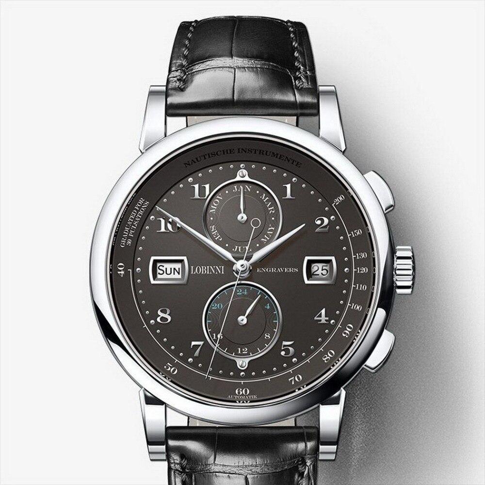 Lovinni 남자 보그 복장 50 m 방수 사업 자동 기계식 손목 시계 월 주 날짜 24 시간 형식 실버-에서기계식 시계부터 시계 의  그룹 2