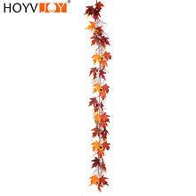 HOYVJOY  Artificial Plants Autumn Maple Leaf Rattan Christmas Thanksgiving Home Decoration 180cm Door decoration Free shipping