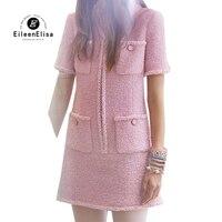 Женское платье Элегантное мини платье с коротким рукавом 2019 весеннее Новое Розовое твидовое платье Vestidos