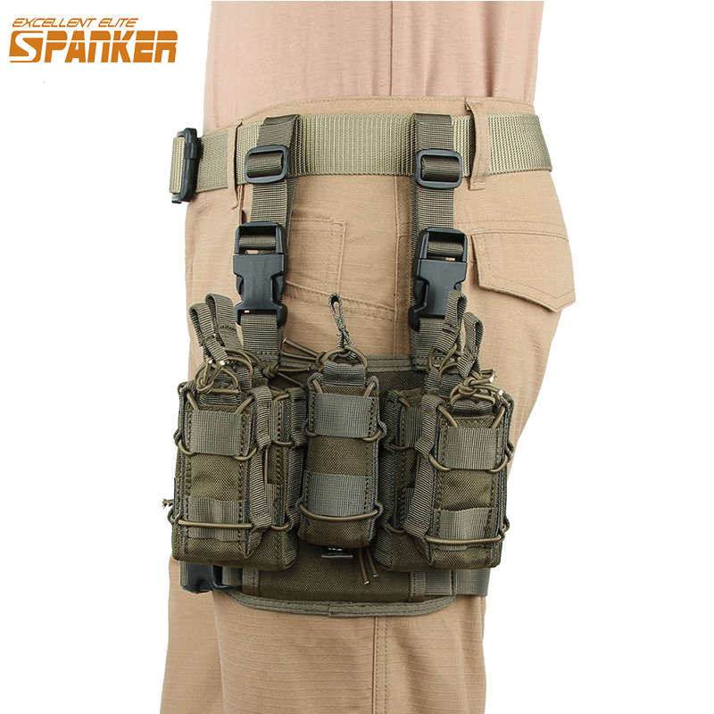 EXCELLENT ELITE SPANKER Combination Clip Bag Outdoor Tactical MOLLE Leg Holsters Magezine Pouch Military Hunting Equipment