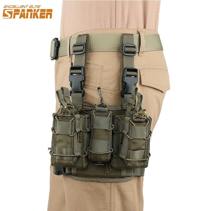 Excellente combinaison d'agrafe de fesseur d'élite sac extérieur tactique MOLLE Holsters de jambe Magezine poche équipement de chasse militaire