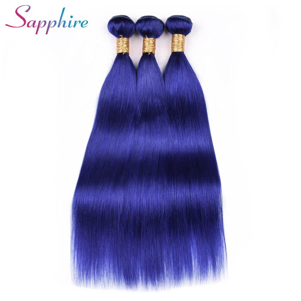 Сапфир человеческих волос Связки перуанский прямые 3 Связки голубой цвет Пряди человеческих волос для наращивания NoRemy за Цветной волос Бес...