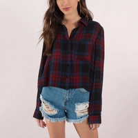 Long Sleeve Lapel Collar Loose Cropped Shirts For Women Ladies Preppy Style Casual Oversize Button Up