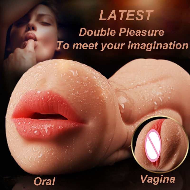 Artificial Vagina Male Masturbator Realistic 3D Oral Deep Throat with Tongue Teeth Maiden Oral Sex Toys for Men