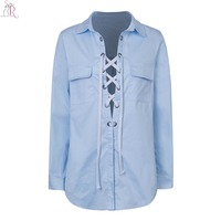 Women Blouse Shirt Blue Lace Up Deep V Neck Sexy Casual Turn Down Collar Chest Pockets