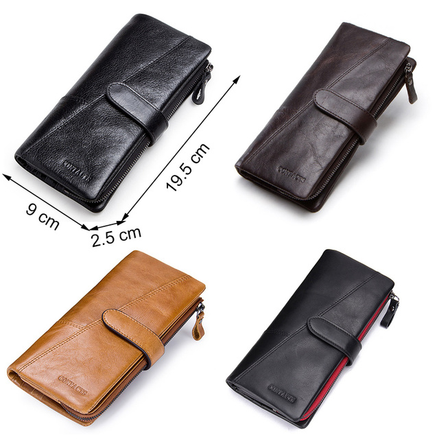 CONTACT'S genuine leather men's long wallet with phone bag zipper coin pocket purse male clutch wallets for men portfel small 4