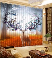 3D Curtain Photo Customize Size Anime Deer Golden Road Woods Curtains For Bedroom Curtains For Living Room window curtain string