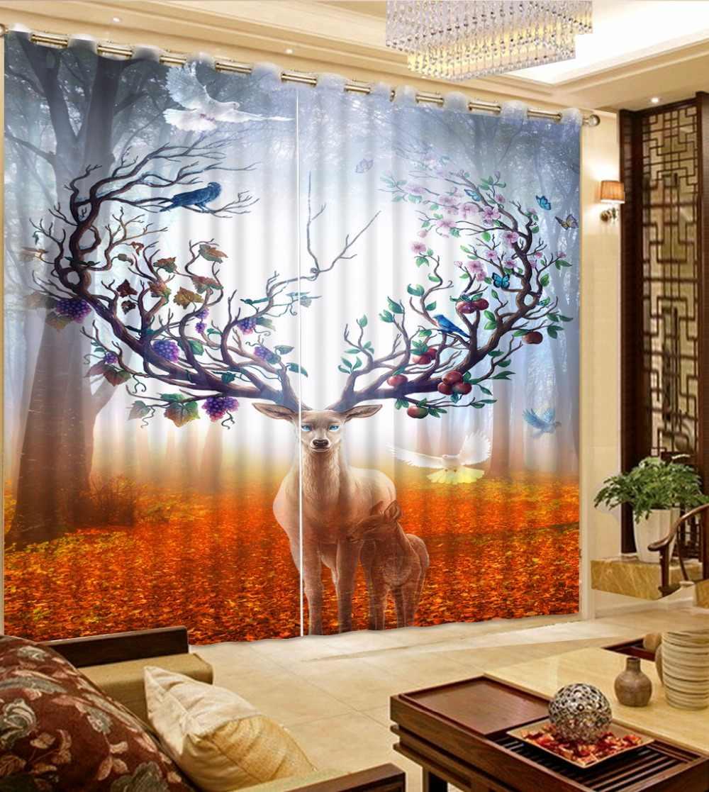 3D kurtyny zdjęcia dostosuj rozmiar Anime Deer złoty drogi lesie zasłony do sypialni zasłony do salonu okna kurtyny ciąg