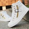 PU Couro Do Punk Hip Hop Homens Sapatos Cor Sólida Branco Dança sapatos Flats Plataforma Moda Rendas Zíper Homem de Alta Top Zapatos Hombre