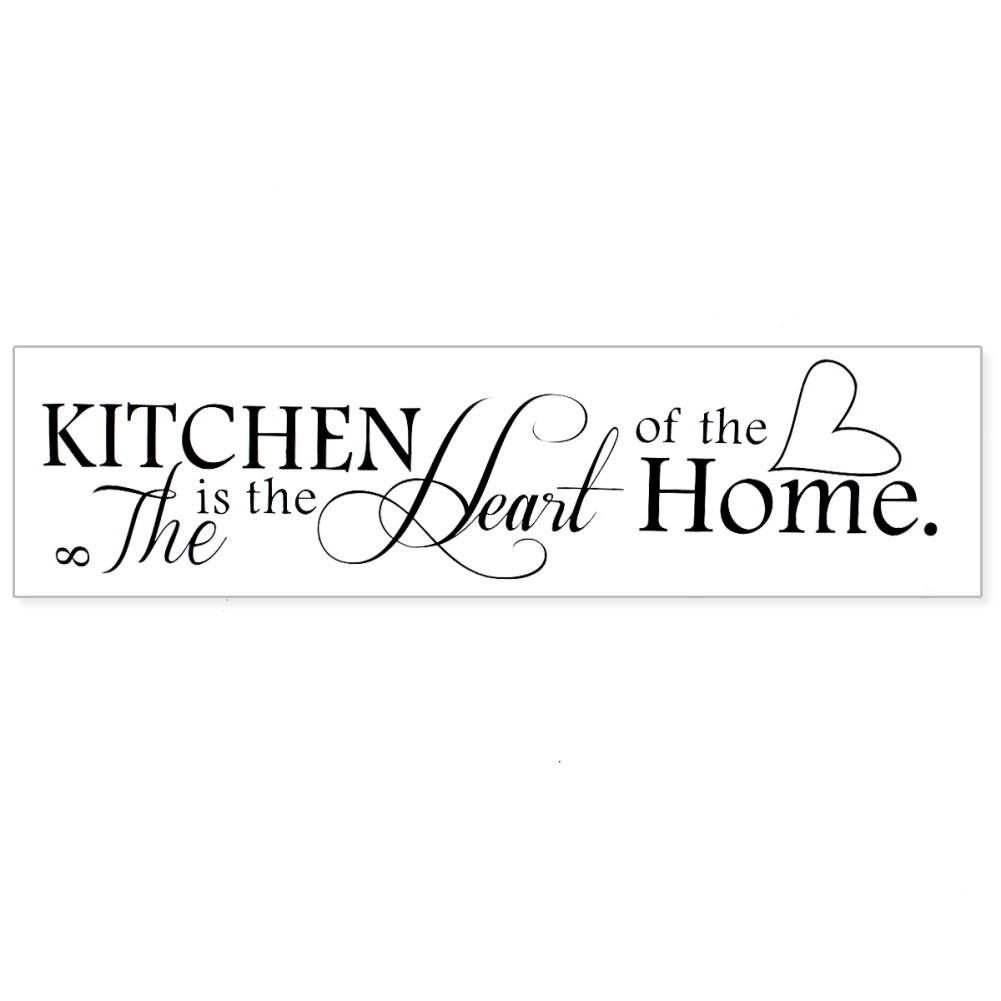 stylish removable black quote kitchen is heart of home sayings design windows door glass wall sticker art mural diy decor in wall stickers from home - Kitchen Sayings