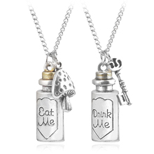 M2 Hot Sale Alice In Wonderland Pendant Necklace Eat Me Drink Me Charm Alloy Bottle Pendant Necklace For Men And Women цена
