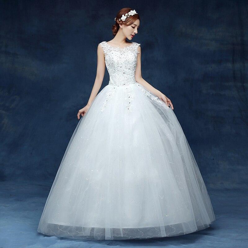 Free shipping 2016 Sequins O neck White Wedding Dresses Princess ...