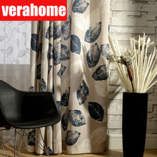 Modern Pastoral American curtain cotton linen leaf curtains for living room bedroom Kitchen windows