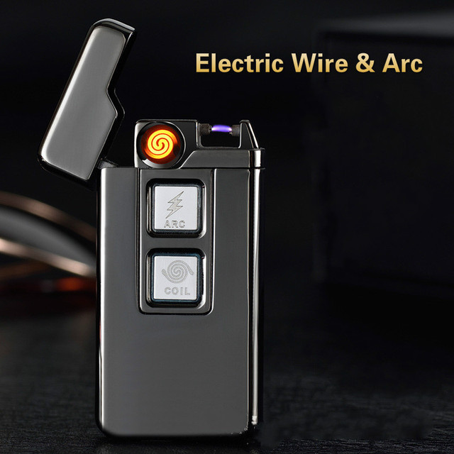 Usb Charge Tesla Coil Arc Lighter Windproof Personality Electronic Cigarette Lighters Novelty Electric