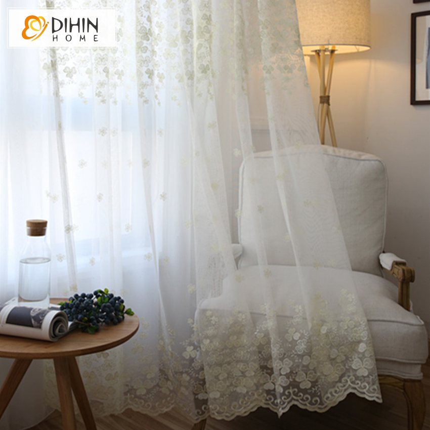 DIHIN 1 PC Hot Sale Embroidered Lace Flower Sheer Curtains