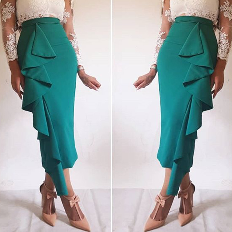 Women Skirt Bodycon Ruffles Office Ladies Work Wear Elegant Modest Classy Female Green Summer Trim High Waist Jupes Faldas Saias