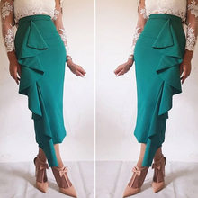 Women Skirt Bodycon Ruffles Office Ladies Work Wear Elegant Modest Classy Female Green Summer Trim High Waist Jupes Faldas Saias(China)