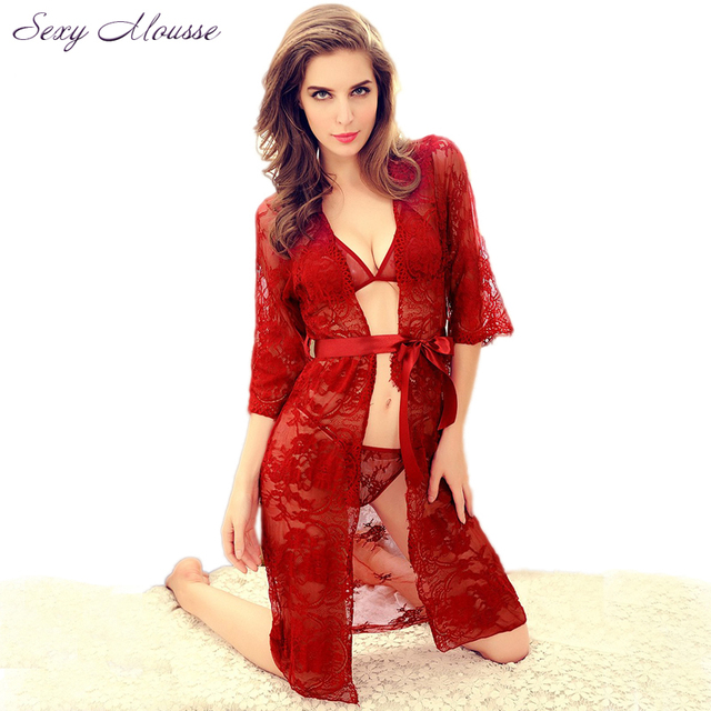 2016 Sheer Transparent Lace Kimono Dressing Gown Intimate Sleepwear Robe Night Gown Woman Sexy Nightgown Set Red