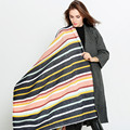 New Winter Rainbow Striped Print Plaid Pashmina Women Pactwork keep warm Scarves New Fashion Women Shawl