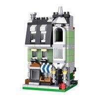 LELE Kỹ Thuật Đường Phố Thành Phố Xem Hàng Loạt Màu Xanh Lá Cây Cửa Hàng Tạp Hóa Giáo Dục Building Blocks Tương Thích LegoINGlys Đấng Tạo Hóa Đồ Chơi 250 CÁI