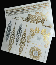 2Pcs/Lot Body Art Glitter Waterproof Temporary Tattoo Stickers Party Make Up Flash Gold Tattoos For Women