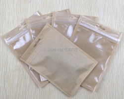 1000 pçs/lote papel kraft Saco do Fechamento do Zipper Plástico Pacote de Varejo Saco Poli Saco DO OPP Pacote de acessórios Saco de Embalagem