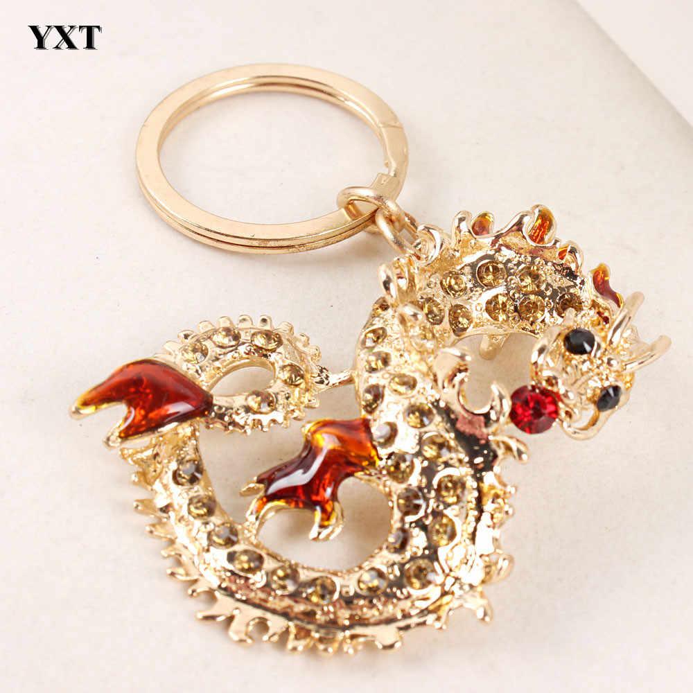 Nueva colección de regalos creativos y delicados llavero con llavero en el bolso con dije de cristal de dragón chino largo