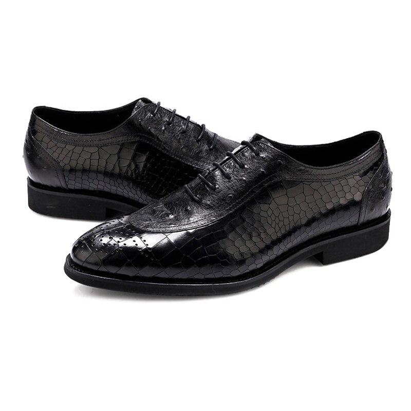 Formal Genuino Cocodrilo Del Partido Medallón Negro Vestido marrón Lujo Calzado De Hombres Cuero Redonda Oxfords Dedo Brogue Pie Zapatos Boda Hombre Ss317 6znzqrTxE