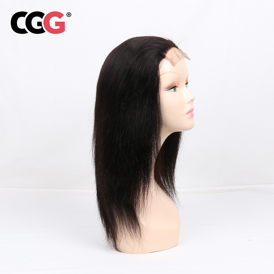 CGG  4*4 Lace Frontal Straight Human Hair Wigs With Baby Hair  Non-Remy Human Brazilian Hair For Black Women Natural Color